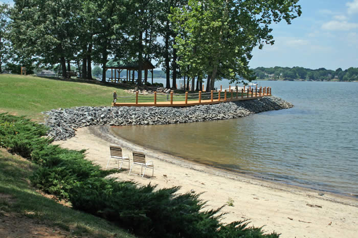 Sandy beach for residents of Sunset Point on Lake Wylie