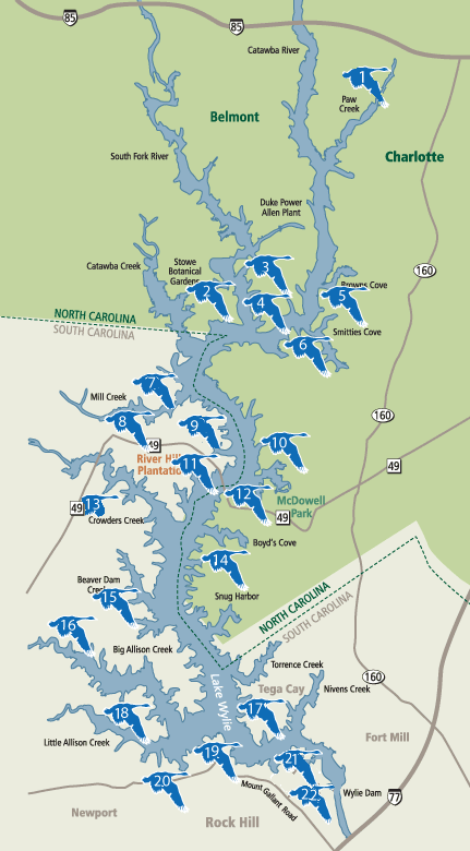 map of Lake Wylie SC and Lake Wylie NC